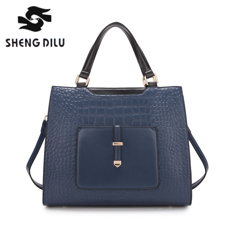 elegant bolsa feminina shengdilu brand 2018 new women handbag genuine leather shoulder bag  free Shipping sales zooler brand genuine leather bag shoulder bags handbag luxury top women bag trapeze 2018 new bolsa feminina b115