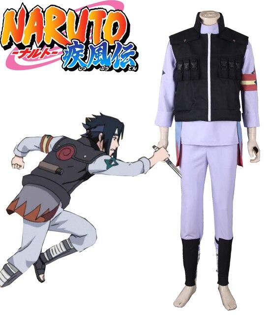 eba5670f Free Shipping Naruto Shippuden Jiraiya Ninja Scrolls Uchiha Sasuke Konoha  Guard Uniform Anime Cosplay Costume