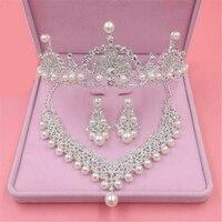 Perlas nupcial rhinestone Juegos de joyería para las mujeres accesorio de la boda danza Partido de la manera tiaras corona Collares Pendientes conjunto