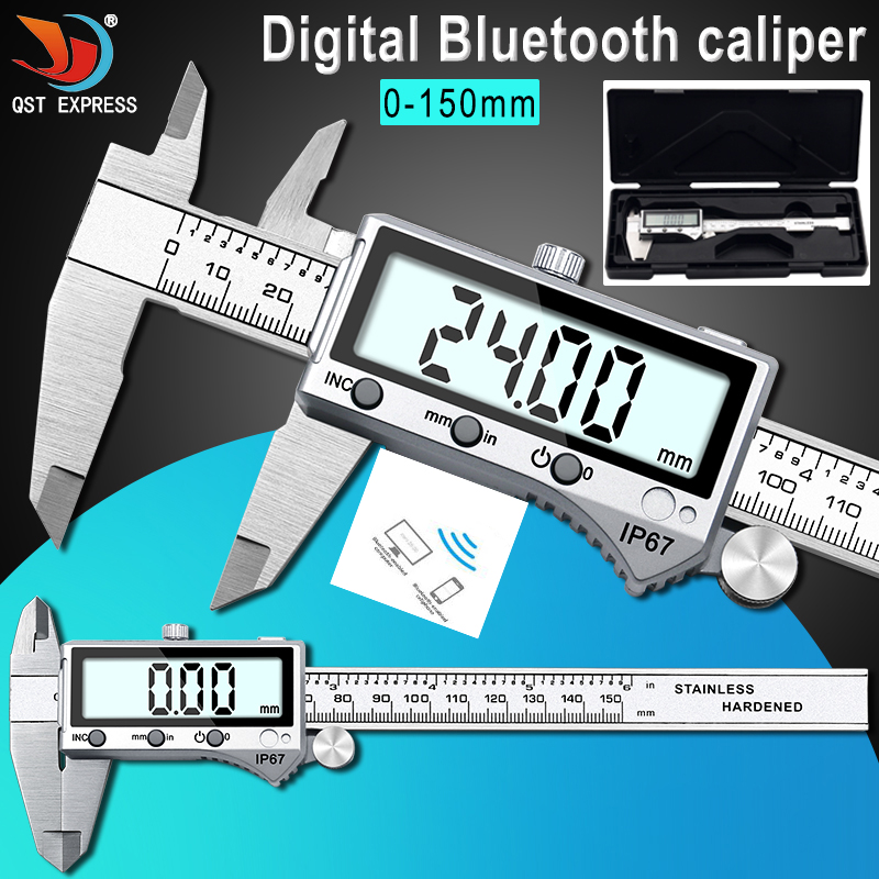 IP67 Bluetooth Waterproof Digital Accurate Vernier Caliper Digital Stainless Steel Vernier Caliper 0-150mm IP67 Bluetooth Waterproof Digital Accurate Vernier Caliper Digital Stainless Steel Vernier Caliper 0-150mm