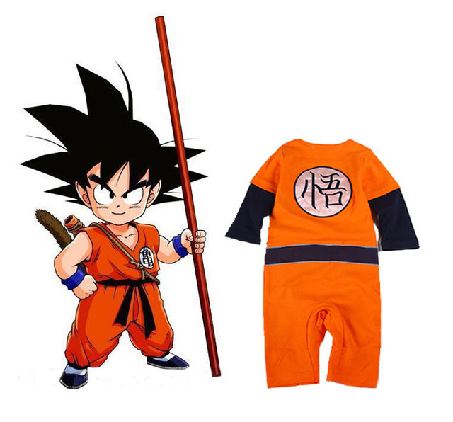 9c8b87c1a385 Dragon Ball Z cosplay Son Goku baby boy girl costumes jumpsuit baby ...