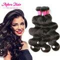 Aphro 7A virgen del indio del pelo Onda del cuerpo 3 paquetes del cuerpo del pelo onda 100% pelo indio virginal sin procesar crudo indio paquetes de pelo ondulado