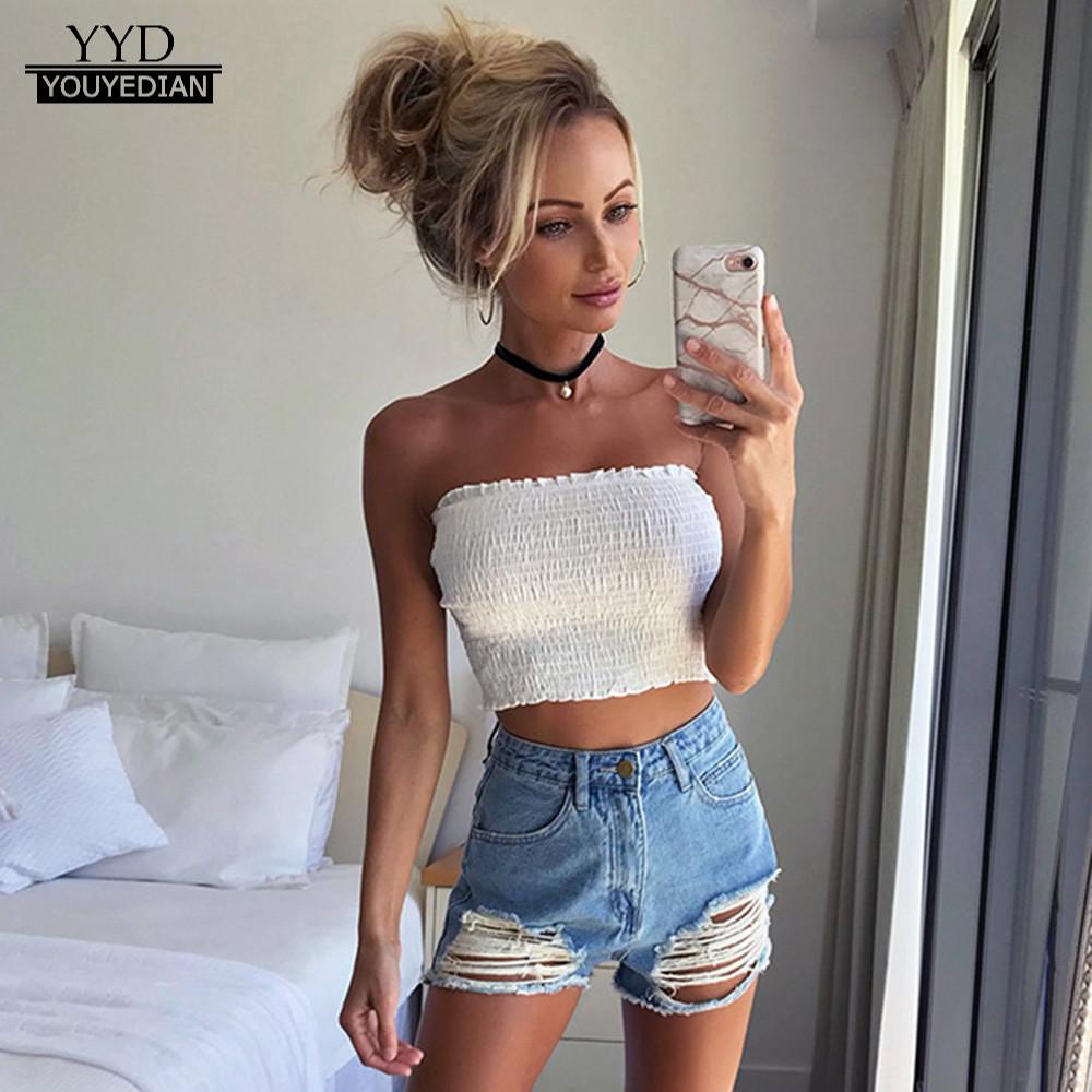 Summer Tops Women Strapless Elastic Boob Bandeau Tube Tops Lingerie Breast Wrap Camisole Crop Top Female Roupas Feminina(China)