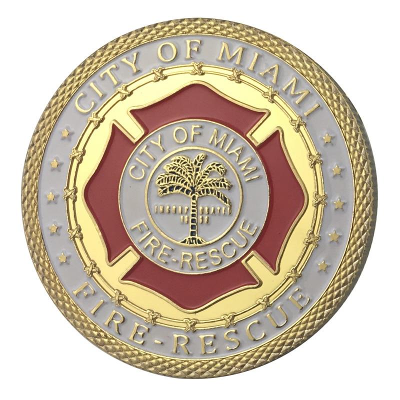 Вся поставка золотое покрытие города Майями пожарный отдел наградная монета/медаль 1337