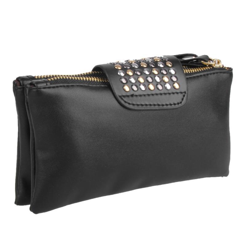 0a6af6f0ab Women Leather Handbag Fashion Rivet Stud Long Day Clutch Bag For ...