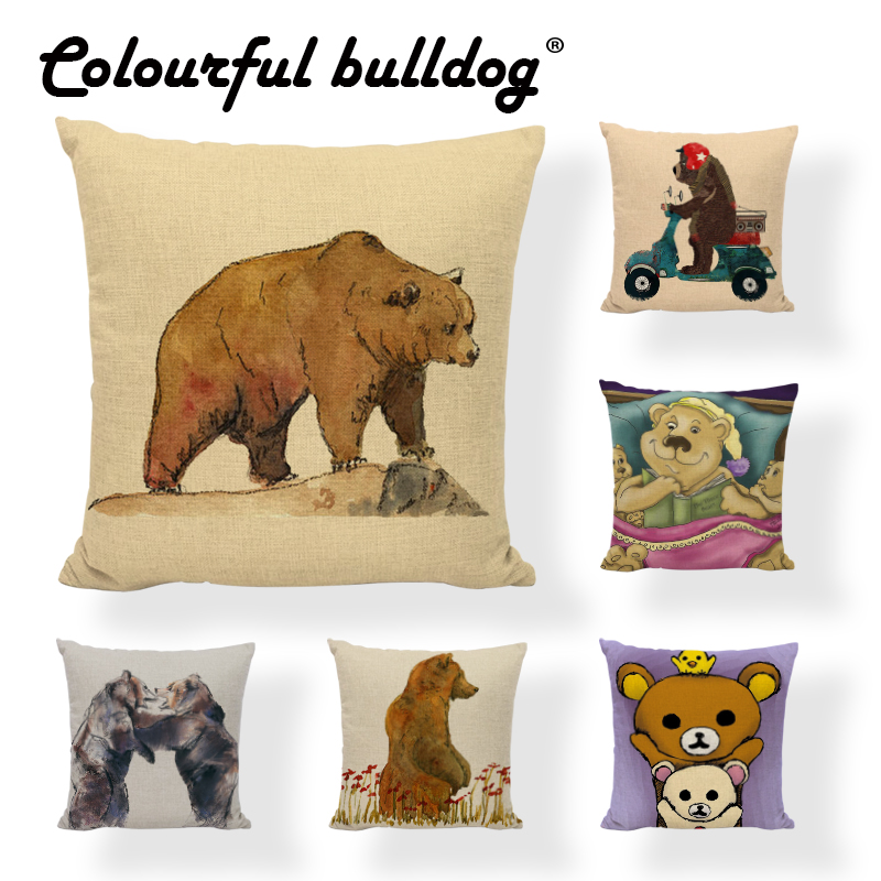 High Quality Bear Cushion Cover Geometric Cartoon Painted Bee Printed Home Decor Childrens room Holiday Gift Throw Pillow Cases