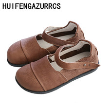 HUIFENGAZURRCS-Literary and Art Retro True Leather Round-Headed Flat-soled Shoes 2019 New Handmade Comfortable Soft-soled shoes