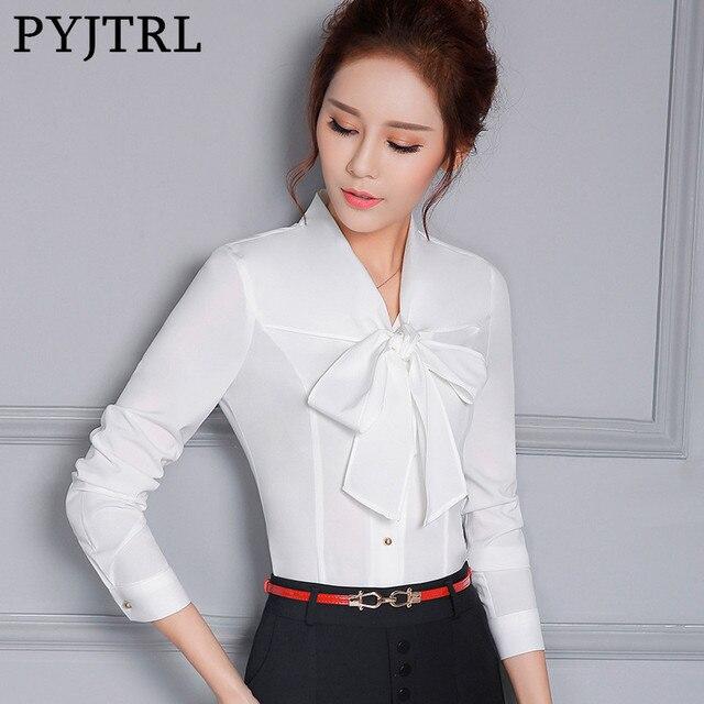 PYJTRL Elegant Office Ladies Bow Tie V-neck Long Sleeve Shirt Fashion Slim Fit White Red Formal Wear Blouse Korean Women Tops