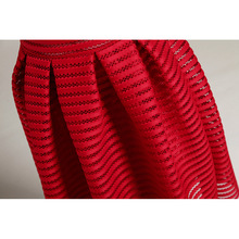 Large Size Summer Style Vintage Skirt Solid Reds Women Skirts Casual Hollow out fluffy Pleated Female Ball Gown long skirts