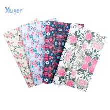 Xugar New Style Floral Synthetic Fabric for DIY Leather PU Eco with Printed Rose Faux For Hair Bows