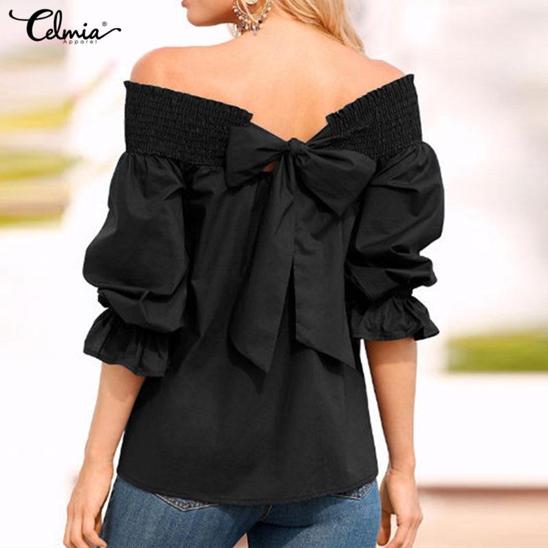 Celmia Sexy Off Shoulder Tops Women   Blouse   2019 Summer Plus Size   Shirts   Slash Neck Bow 3/4 Flare Sleeve Casual Blusas Femininas