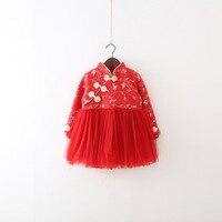 2017 Sale Top Fashion Cotton Ball Gown Girls Wear Winter Clothes Plus Velvet Dress 0 1