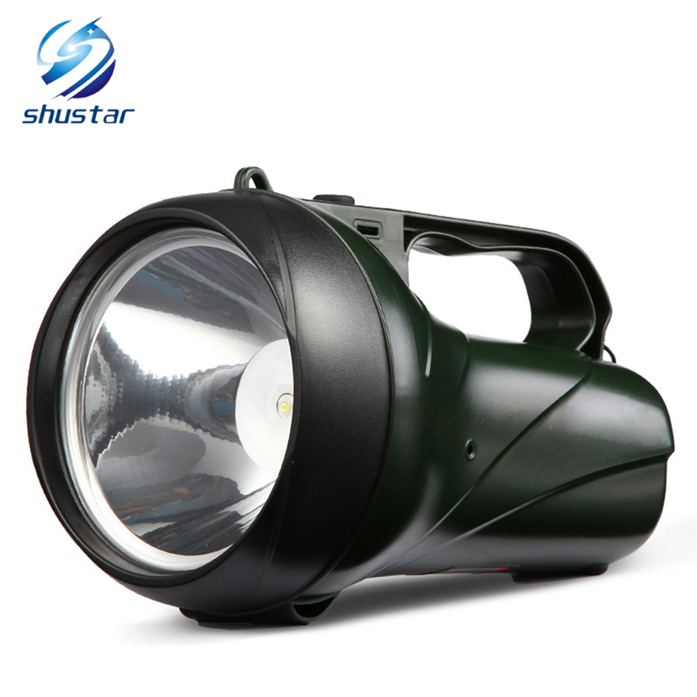 Rechargeable LED flashlight searchlight 15W High Power portable lamp 2 modes torch Built-in 3000 mA lithium battery