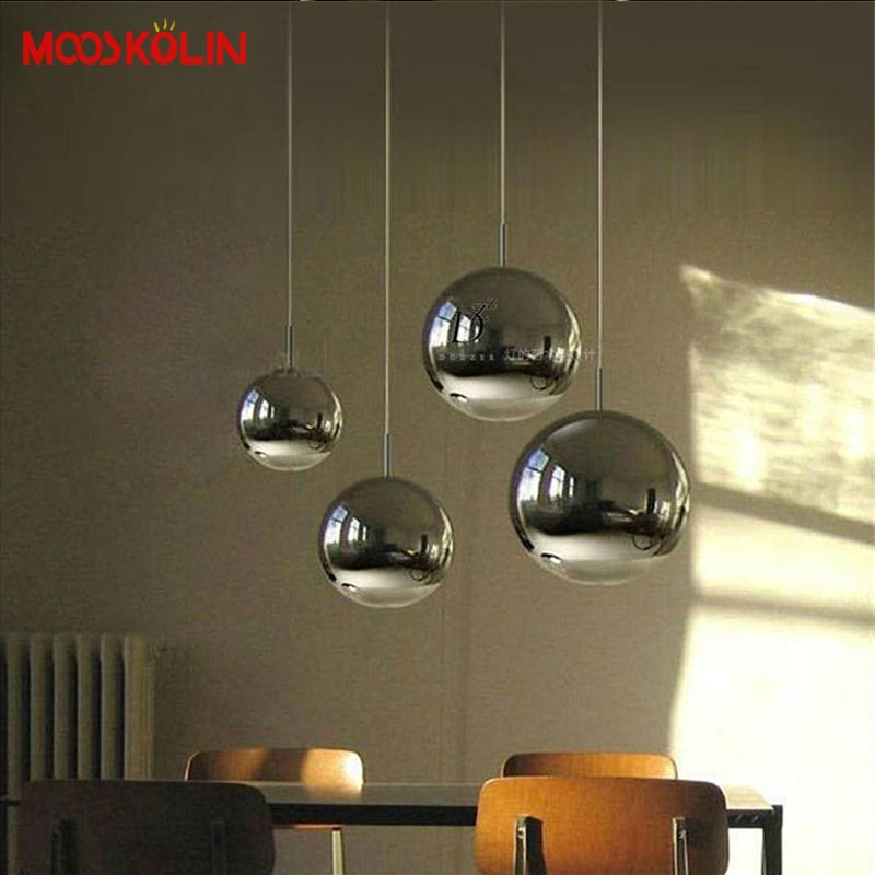 Modern Nordic LED Clear Glass Globe Round Ball Mirror Pendant Lights Hanging Lighting for Dining Room Restaurant Hanglamp Lamp