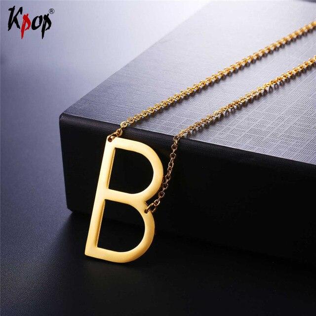2c149094416d € 5.35 50% de DESCUENTO|Kpop Acero inoxidable letra B colgante con  gargantilla de cadena oro/Color negro para hombre/mujer clavícula cadena  collar ...