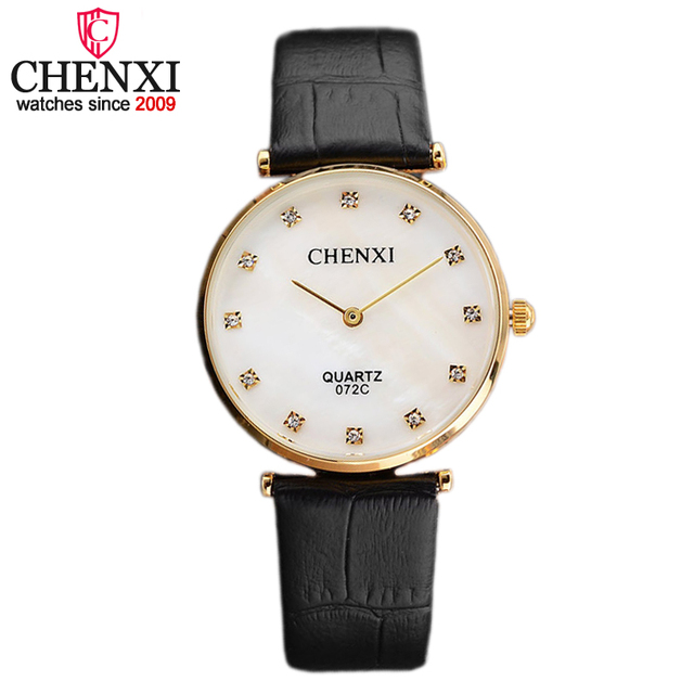 CHENXI Brand Fashion Six Style Quartz Lover Couple Watch Luxury Simple Black Lea
