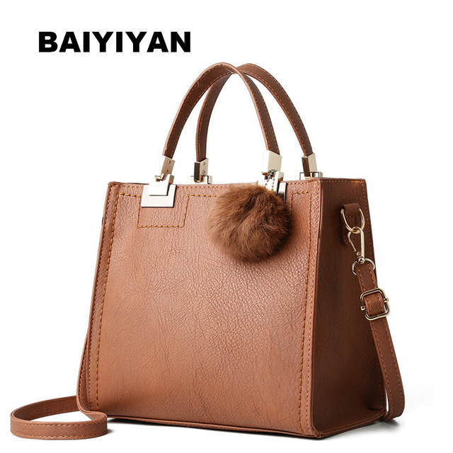 8629a07bbfcc Hot Sale Fur Ball Women s Handbag Fashion PU Leather Ladies Shoulder Bag  Flap Casual Crossbody Bag