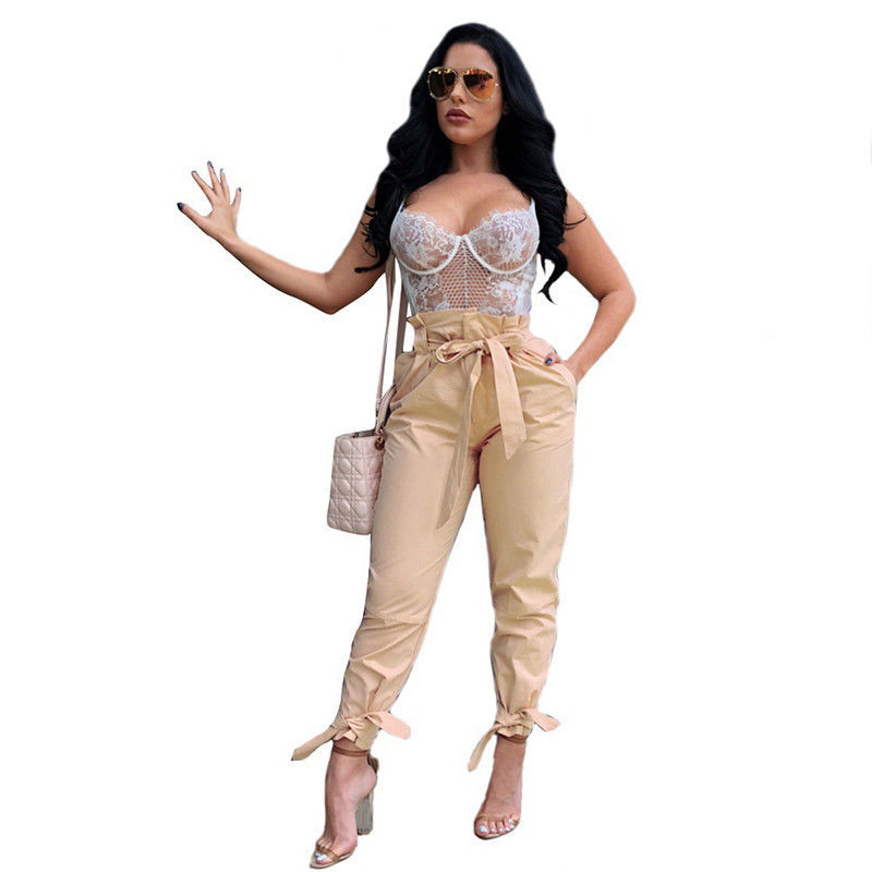 Fashion Women Pencil Pants Lace Up Trousers High Waist Pants Women Slim Solid Comfortable Clothes 3 Colors