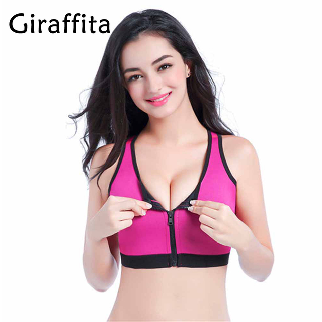 d55c436b6c Sexy Women Sport Yoga Top Bra for Running Gym Workout Front Zipper Fitness  Sports Woman Yoga