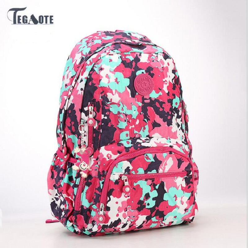 TEGAOTE 2017 latest Floral Backpack for Teenage Girl Feminine Backpack Casual Kipled Nylon Backpacks Women Bagpack Sac A Dos bag fashion vintage backpack women youth school shoulder bag male nylon backpacks for teenager girls feminine backpack sac a dos