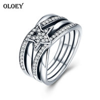 OLOEY Star Twisted Statement Ring For Women Original 925 Sterling Silver Engagement Finger Rings Fine Accessories Jewelry YMR134