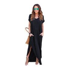 Women Dresses Fashion Summer Boho Beach Dresses Split Short Sleeve Casual Dress Elegant Maxi Dress Vestido