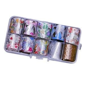 Image 2 - Lot de 10 pièces feuille de clou ciel étoilé (10 couleurs) papier holographique décalcomanies Nail Art transfert autocollant 2.5*100cm outils à ongles (10 pièces, 8)