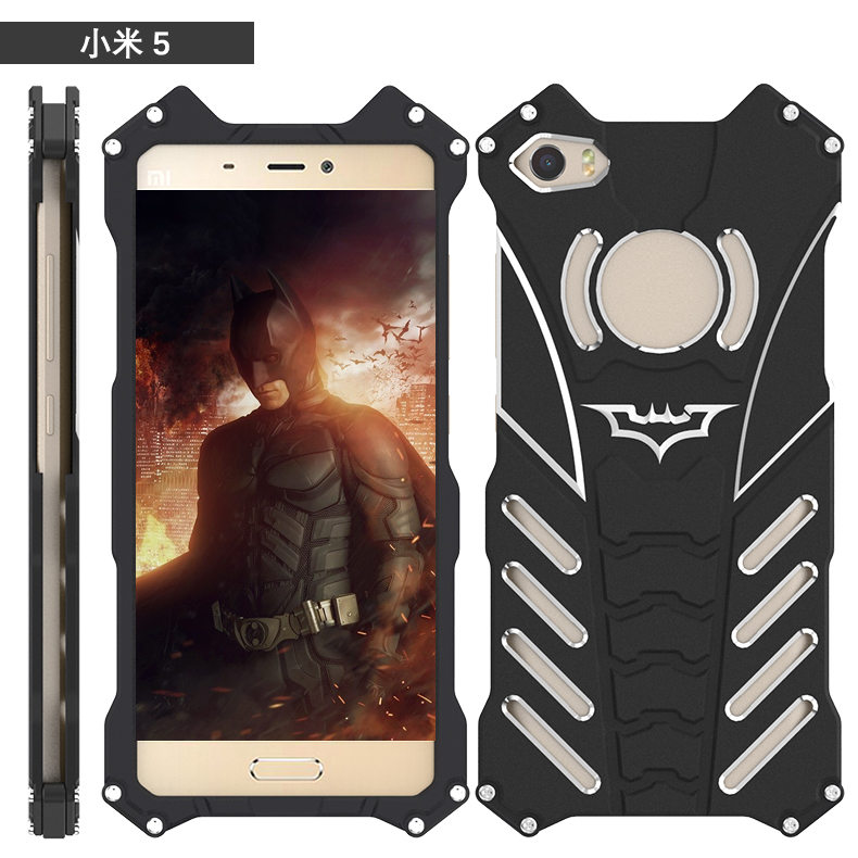 R-JUST For Xiaomi MI5 MI 5 case Armor Heavy Dust Metal Aluminum BATMAN protect Skeleton head phone cover for Xiaomi MI5+bracket