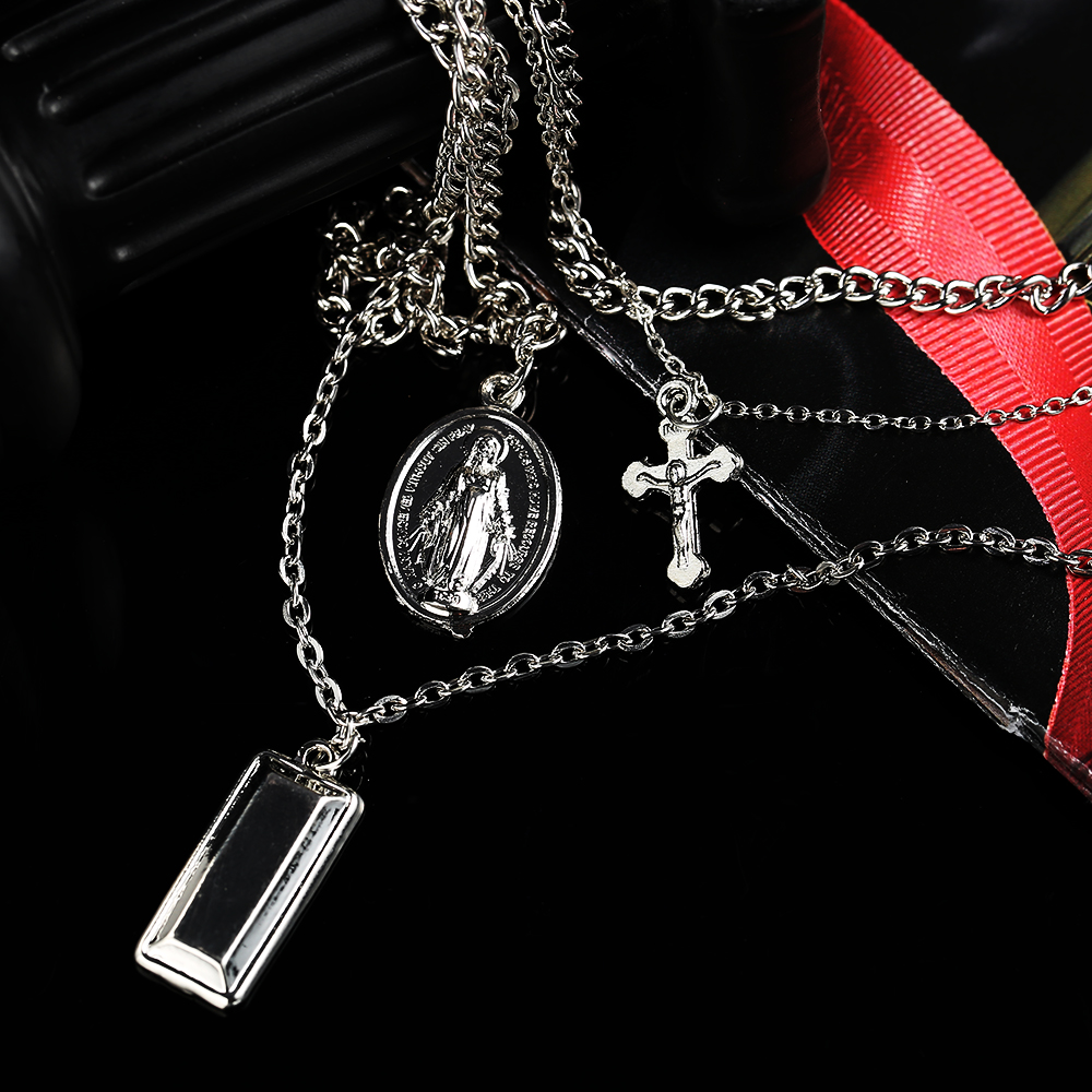 2018New Arrivals Fashionable Jewelry & Metal chain Cross Shape Key Pendant Multi-level Statement Necklace For Womens Gift