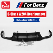 цена на High-quality Carbon Fiber No hole Style Rear diffuser Lip Bumper Guard For Benz C-Class W204 c180 200 C63AMG 2012-14 Car Styling