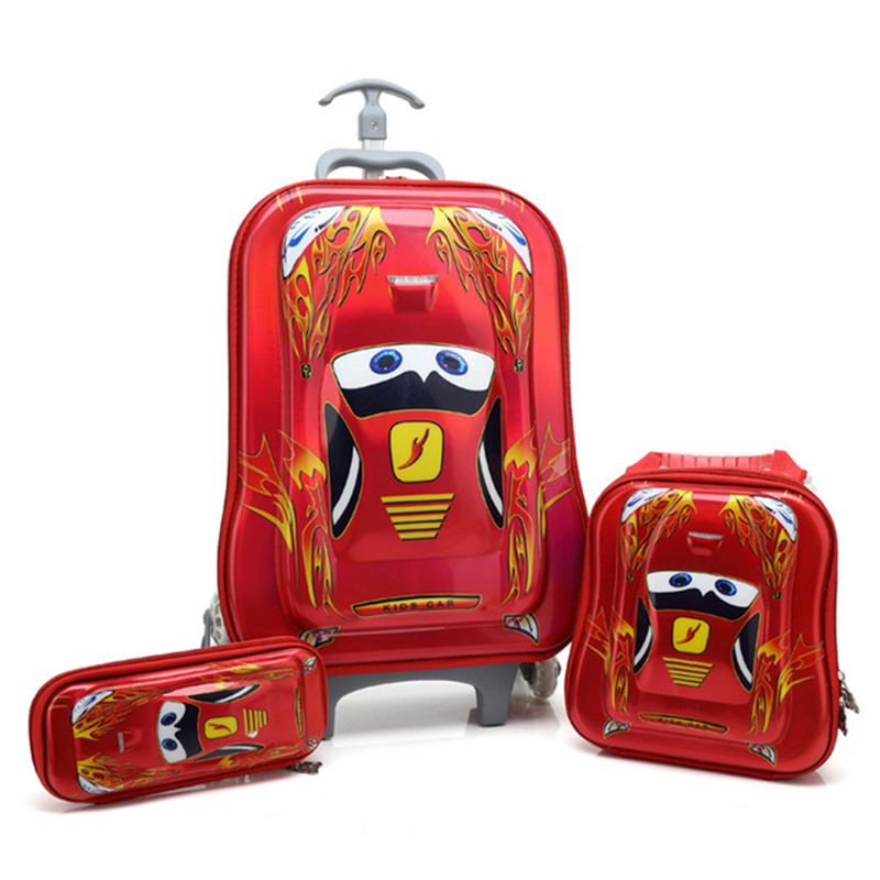 HOT 3PCS/set Students Trolley Case Child Climb Stairs Luggage Children 3D Travel Bag Cartoon Suitcase Pencil Box Kids Gift