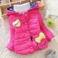 À venda 2016 inverno novo bebê casaco de inverno de boa aparência coração e Bow estilo menina Snowsuit Parka A338