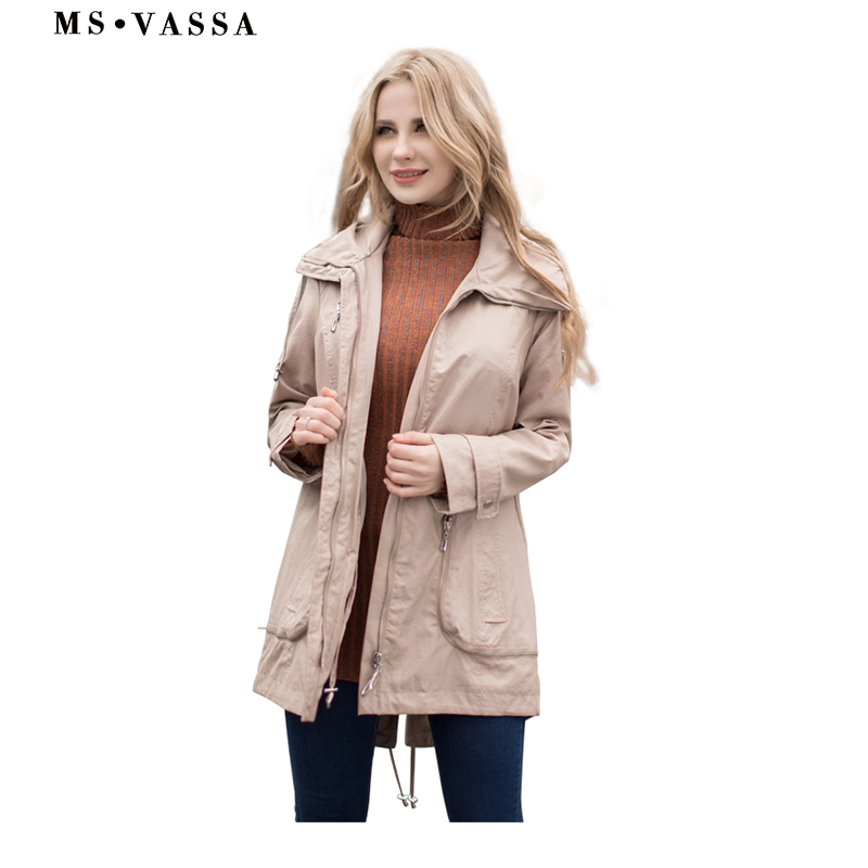 MS VASSA Spring Trench Coats 2019 Women New fashion Ladies coats with adjustable waist plus over