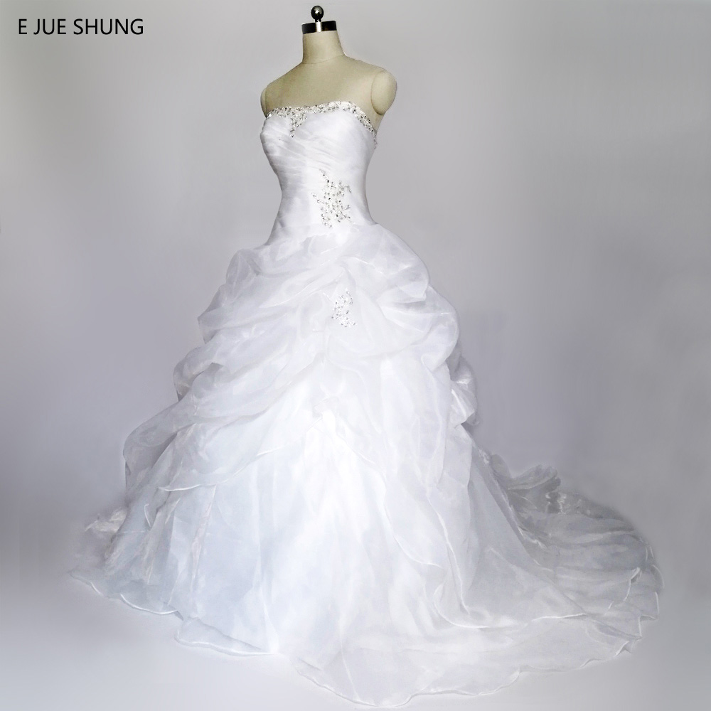 E JUE SHUNG robe de mariage White Organza Cheap Wedding Dresses Lace Up back Sweetheart Beaded