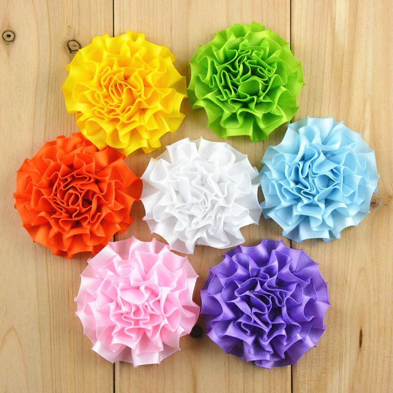 10pcs/lot 5cm 20Color Newborn Chic Satin Ribbon Hair Flower For Baby Hair Accessories Artificial Fabric Flowers For Headbands