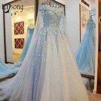 2017 Arabia Saudita perlas nupcial floral Vestidos lujo Líbano Dubal vestido de novia 2016 rebordeado con La Chaqueta larga Catedral tren