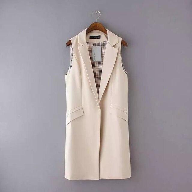 Office Lady Elegant Jackets Vests For Women Sleeveless Black Long Outerwear  Casual Brand Colete Feminino Coats