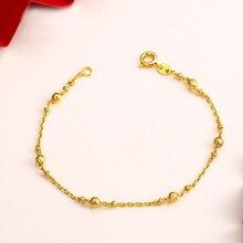 MxGxFam(18 см) 24 к Чистый золотой цвет бусины браслет для женщин модные ювелирные изделия персональный дизайн гипоаллергенный