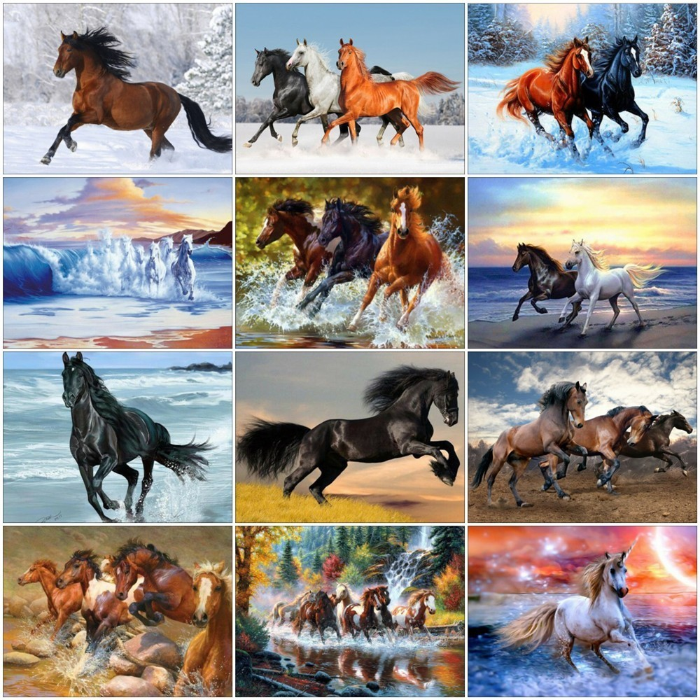 Huacan Diamond Painting Embroidery Picture Mosaic Rhinestone Horse Animals Home-Decoration