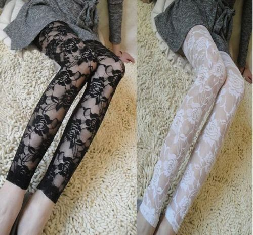 1pc Lace Legging Summer SexyThin Full Lace Ankle length Leggings Legings Floral Hollow Out Lace Leggings Hot Sale 5