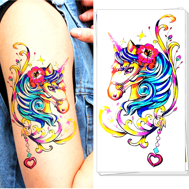 M-Theory Temporary Tattoos Tattoo Body Art, Rainbow Unicorn , Flash Tatoos Sticker 20x12cm Swimsuit Dress Makeup