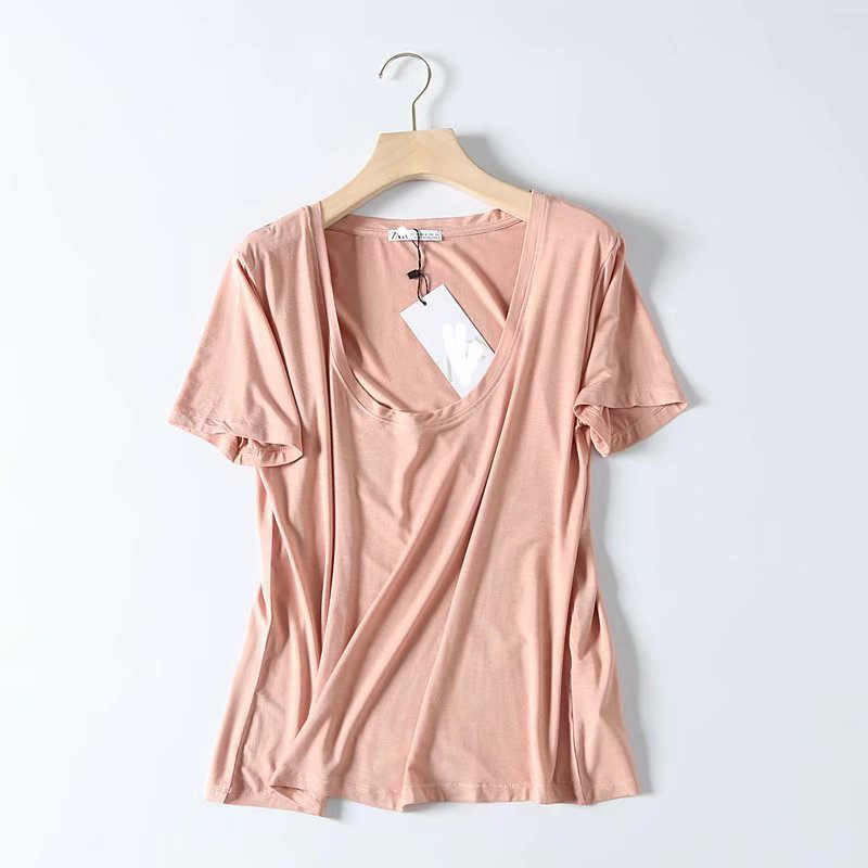 RR Solid Color Sexy Tees Tops Women Fashion Short Sleeve Tees Tshirts Women Elegant O Neck Tees Tops Female Ladies EX05