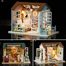 DIY Miniature Dollhouse With Furnitures LED 3D Wooden  Model Doll House Toys Handmade Crafts For Children Birthday Gift #E diy miniature doll house casa toys dollhouse wooden model with 3d led furnitures house for dolls handmade toys for children e