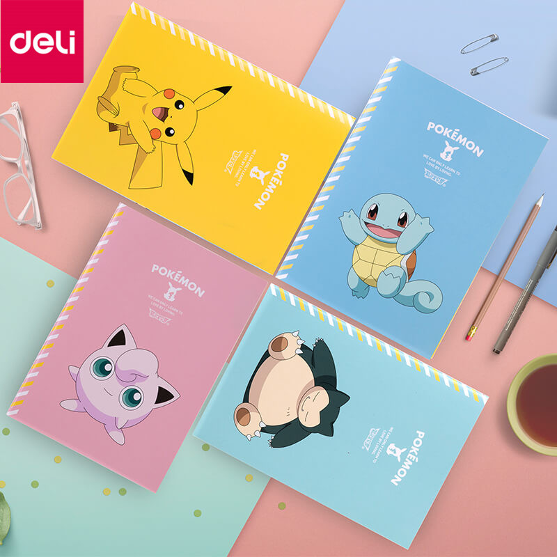 4 PCS/PACK Deli PA540-01 Pikachu Series Stitches Book Four Colors A Set A5 40 Sheets Students Pokmon Cartoon Diary Notebook