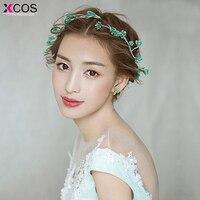 XCOS Elegant Crystal Pearl Bridal Crown Woman Tiaras Hair Jewelry Ornaments Hairwear Bride Headbands Wedding Hair Accessories