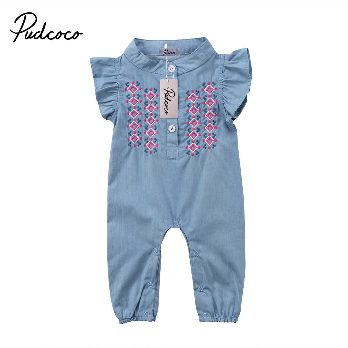 New Cute baby girls denim romper Infant Newborn Baby Girl embroidery Playsuit Jumpsuit Body suit summer baby girl Clothing