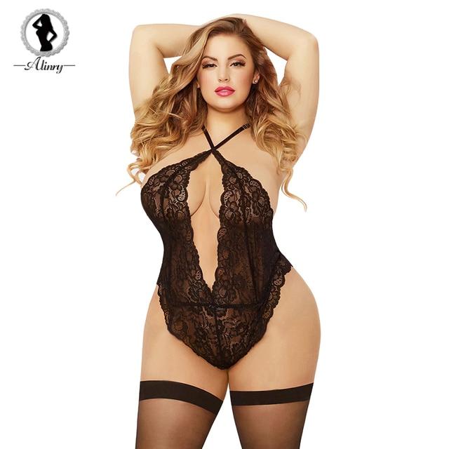 2cc9b17ad74 ALINRY Sexy Bodysuit Lingerie Hot Plus Size Women Hollow-out Transparent  Lace Teddy Sleepwear Costumes Halter Babydoll Underwear