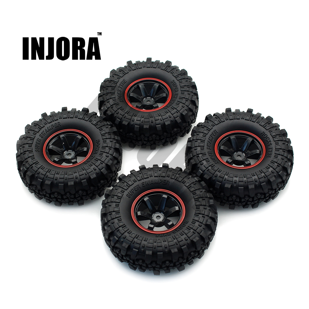 INJORA 1:10 RC Rock Crawler 1.9 Inch Rubber Tires & Plastic Wheel Rim Set for Axial SCX10 Tamiya CC01 D90 TF2 цена 2017