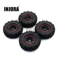 Jora 1:10 rc rock crawler 1.9 Polegada pneus de borracha e roda de plástico conjunto de aro para axial scx10 tamiya cc01 d90 tf2