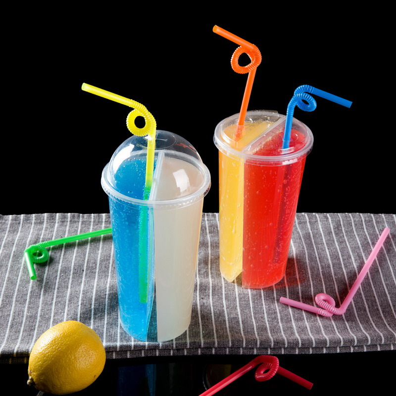 700ml Creative Special Thickness Double Grid Disposable Plastic Cup Hot Cold Drink Juice Share